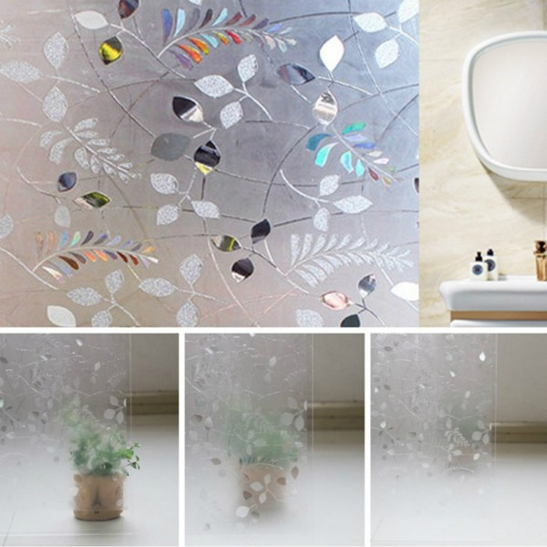 3D Leaf Decorative Window Privacy Film Static Cling Frosted Glass Door Film