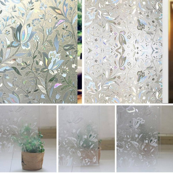 3D Tulip Flower Static Decorative Frosted Glass Window Privacy Film