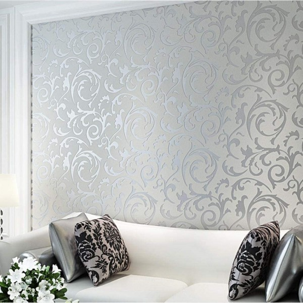 Acanthus Scroll Wallpaper, 3D Victorian Damask Embossed Wallpaper Non Woven Wallpaper For Home Living Room Bedroom And TV Background Decoration