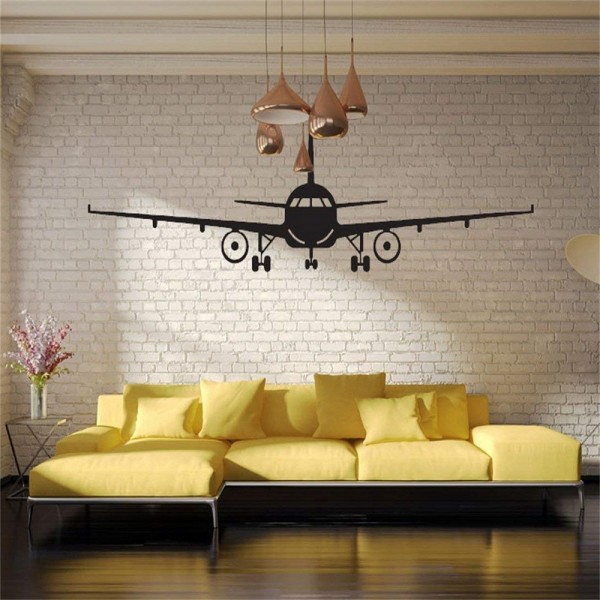 Airplane Wall Decal Black Aircraft Silhouette Vinyl Sticker Home Child's Room Bedroom Nursery Decor