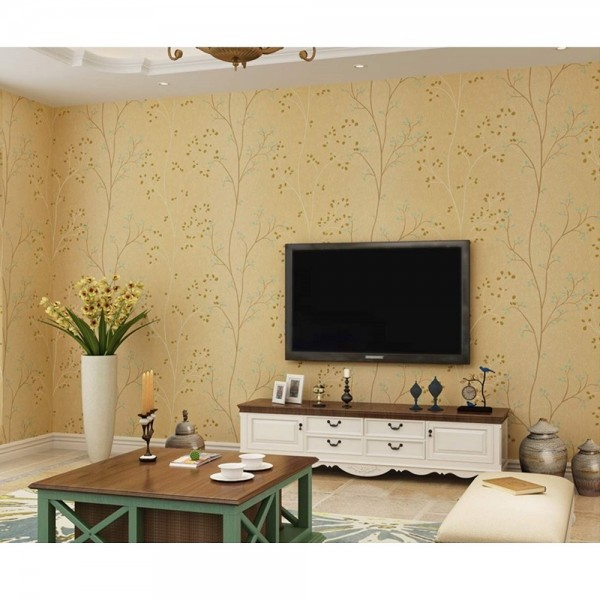 American Rustic Country Style Wallpaper Twig Leaf Non Woven Wallpaper Bedroom Living Room TV Background Wall Covering Paper