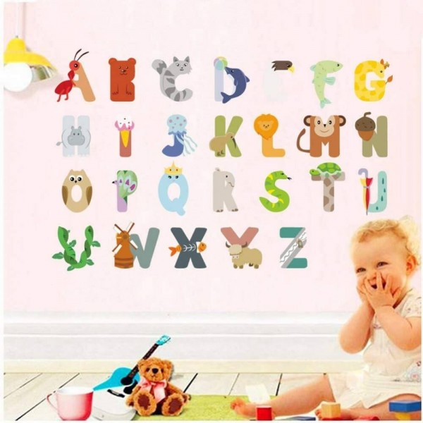 Animal Alphabet Vinyl Wall Decals Removable ABC Wall Letters Stickers For Baby Bedroom Kids Playroom Classroom Nursery Art Decor