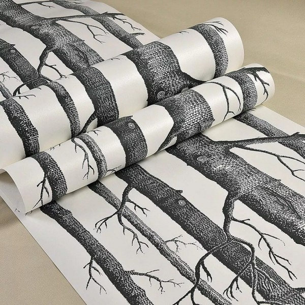 Black And White Birch Tree Forest Removable Wallpaper Bedroom Living Room TV Background Wall Decor