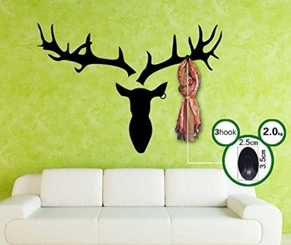 Black Deer Head Wall Decal With 3 Hooks DIY Hallway Bedroom Living Room Wall Decor
