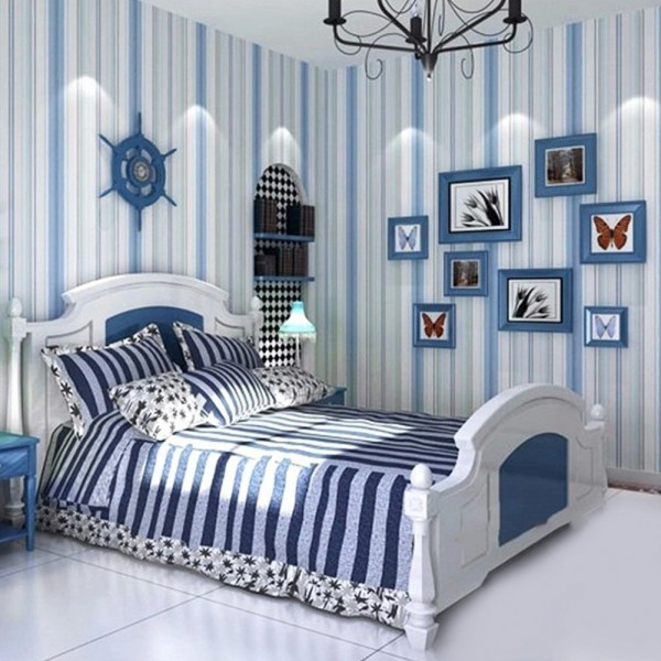 Blue And White Vertical Striped Wallpaper Mediterranean Style Home Living Room Bedroom Decor