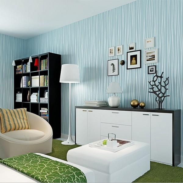 Blue Modern 3D Textured Peel And Stick Wallpaper Non-Woven Flocking Vertical Stripes Self Adhesive DIY Wall Coverings