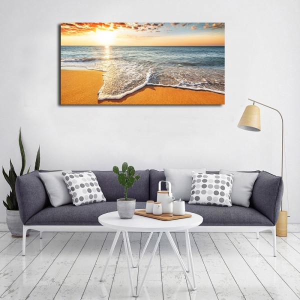 Brilliant Ocean Beach Sunrise Seascape Canvas Wall Art