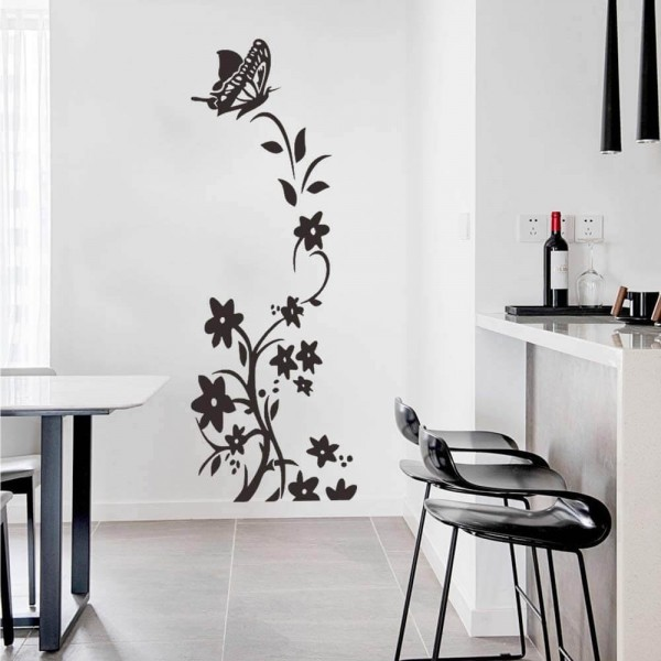 Butterfly and Flower Vine Wall Stickers