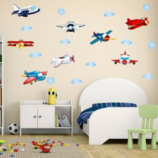 Cartoon Airplane Wall Decal Cloud And Plane Wall Art Stickers For Baby Nursery Kids Room Wall Decor
