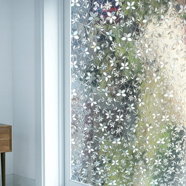 Cherry Blossom 3D Decorative Window Film Non Adhesive Static Cling Privacy Film For Home Windows And Glass Doors