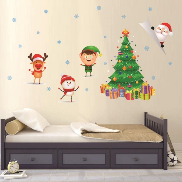 Christmas Wall Decals Removable Christmas Tree Santa Claus Snowflake Wall Stickers DIY Xmas Decorations For Home