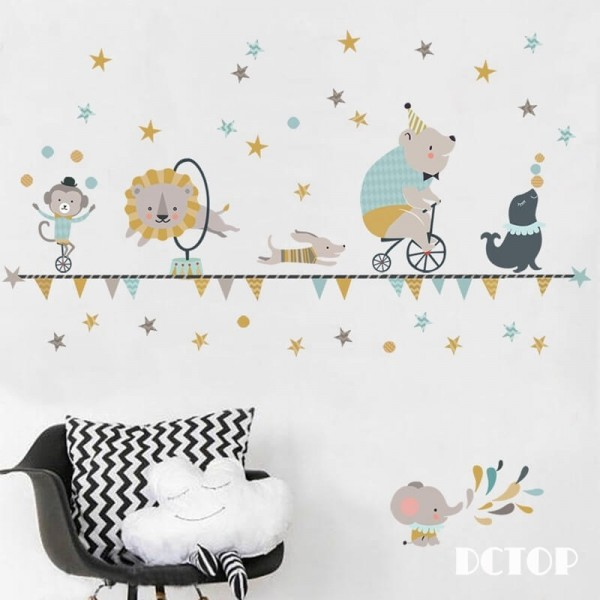 Circus Animal Wall Decals Peel And Stick Wall Stickers Nursery Wall Art For Kids Baby Boy Girl Room Decor