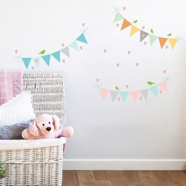 Colorful Pennant With Hearts And Birds Nursery Wall Decals