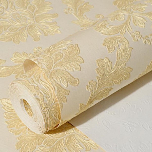 Contemporary Yellow Damask Textured Peel And Stick Wallpaper Wallsymbol Com