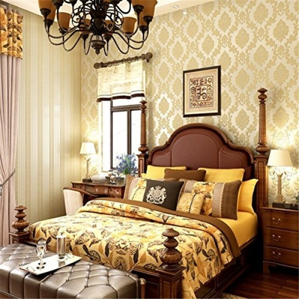Contemporary Yellow Damask Textured Peel And Stick Wallpaper