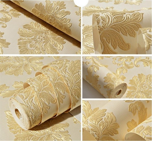Peel And Stick Textured Wallpaper: Contemporary Yellow Damask Textured Peel And Stick
