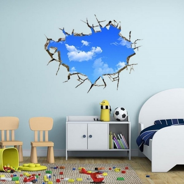 Creative 3D Blue Sky White Clouds Cracked Ceiling Hole Wall Sticker