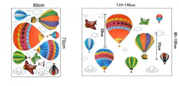 Creative Cartoon Hot Air Balloon Aircraft And Smile Clouds Wall Decals DIY Home Decor Wall Art Stickers For Baby Bedroom Kids Room Nursery Birthday Party Decoration