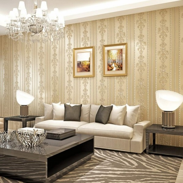 Damask Floral Stripe Peel And Stick Wallpaper European Style Non Woven Wallcovering For Home Living Room Bedroom Decor, Beige