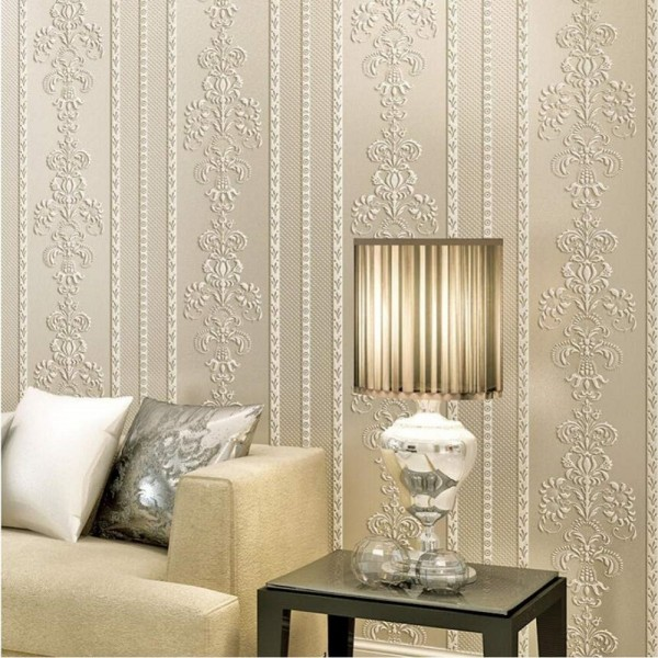 Damask Floral Stripe Peel And Stick Wallpaper European Style Non Woven Wallcovering For Home Living Room Bedroom Decor, Cream