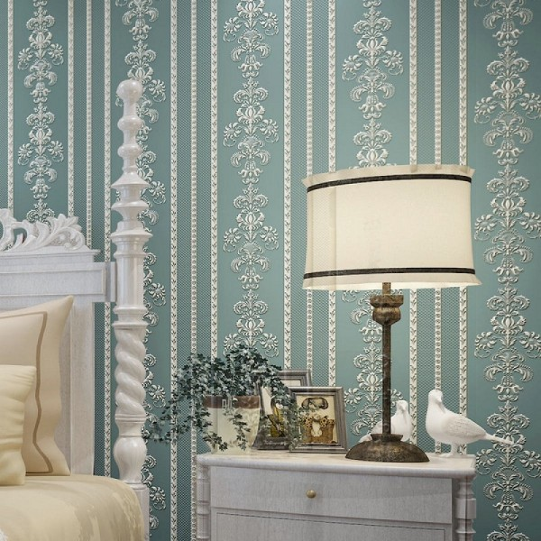 Damask Floral Stripe Peel And Stick Wallpaper European Style Non Woven Wallcovering For Home Living Room Bedroom Decor, Navy Blue