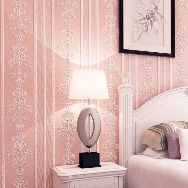 Damask Floral Stripe Peel And Stick Wallpaper European Style Non Woven Wallcovering For Home Living Room Bedroom Decor, Pink