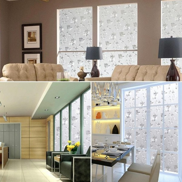 Decorative Frosted Privacy Window Film Hibiscus Flowers Pattern Glass Sticker Film