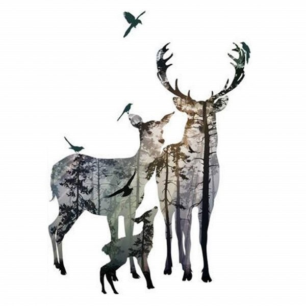Deer Family Forest Silhouette Wall Sticker Animal Birds Elk Wall Art Decal For Home Decor