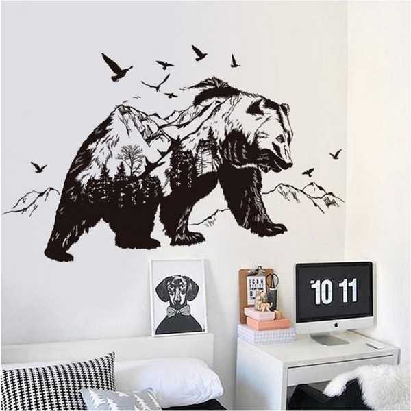 Double Exposure Mountain Black Bear Wall Decals