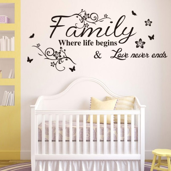 Family Where Life Begins and Love Never Ends Quote Wall Decal Inspirational Family Saying Vinyl Lettering Wall Art Home Decor Wall Sticker