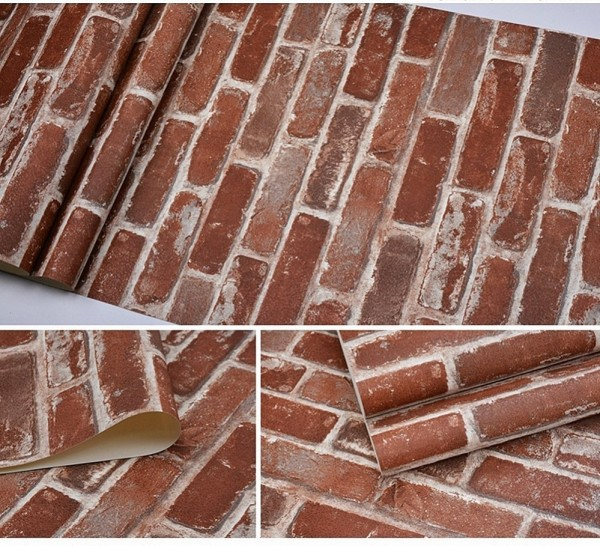 Flat Faux Brick Stone Wallpaper 3D Effect Block Vintage Home Decor