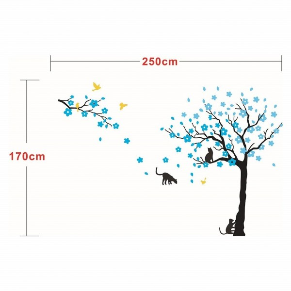 Flower Tree With Cat And Bird Giant Wall Decals
