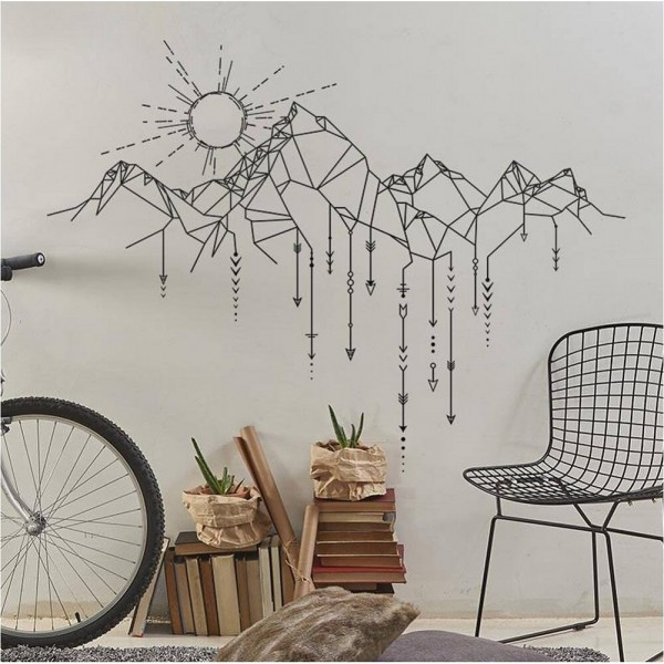 Geometric Mountain And Sun Vinyl Wall Decals
