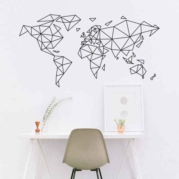 Geometric World Map Wall Decals