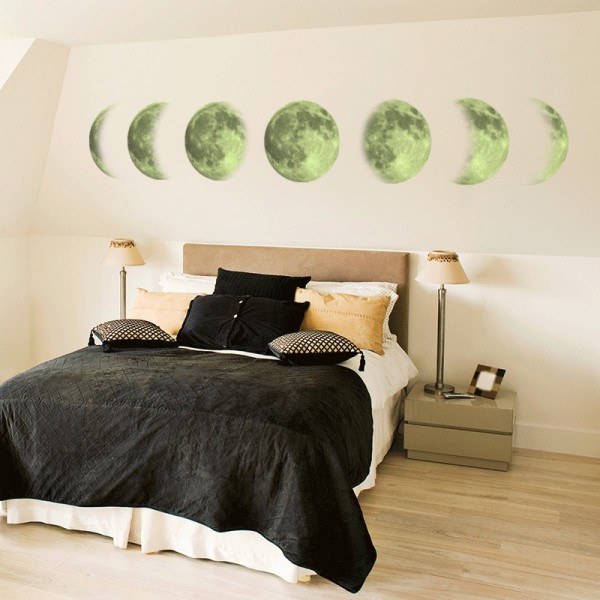 Glow In The Dark Moon Phases Wall Decal Vinyl Wall Art Stickers Home Living Room Bedroom Wall Decorations