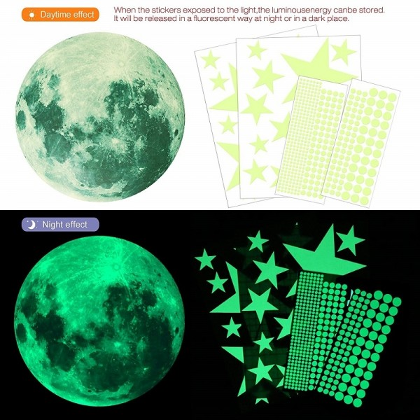 Glow In The Dark Stickers Glowing Moon Stars Dots For Ceiling And Wall Decals For Kids Room Boys Girls Bedroom Home Party Decorations