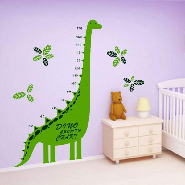 Growth Chart Wall Decal Cartoon Dinosaur Height Chart Wall Sticker Baby Nursery Boys And Girls Bedroom Wall Decor