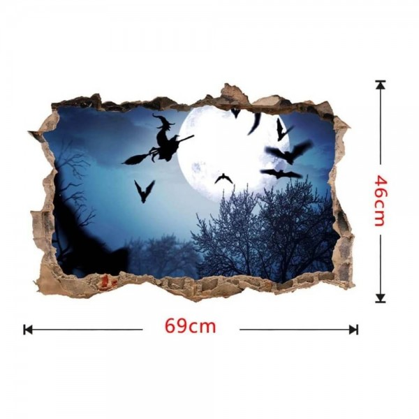 Halloween Decoration 3D Smashed Wall Decal Witch Flying On Broom Against Full Moon Night Sky Broken Wall Sticker Removable Wall Art Decor