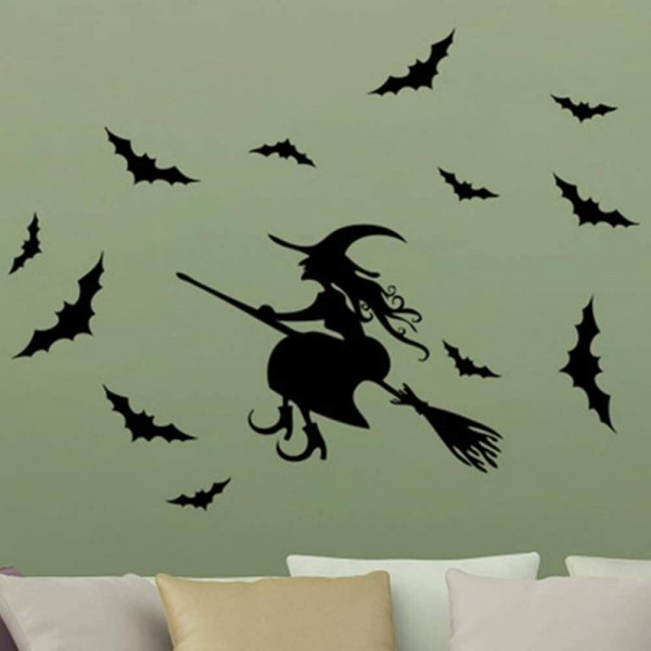 Halloween Wall Decals Witch And Bats Silhouette Vinyl Stickers Removable Wall Art Decoration