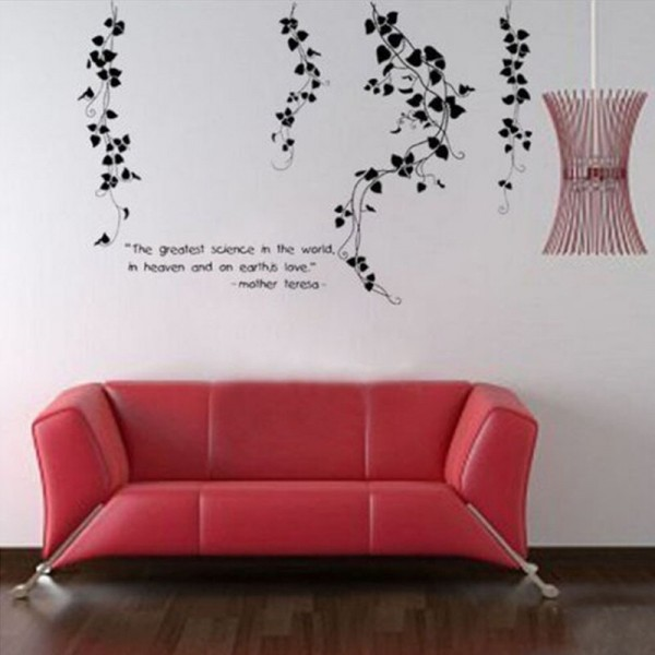 Hanging Vines Floral Wall Decal With Quote Vinyl Wall Art DIY Home Decorations