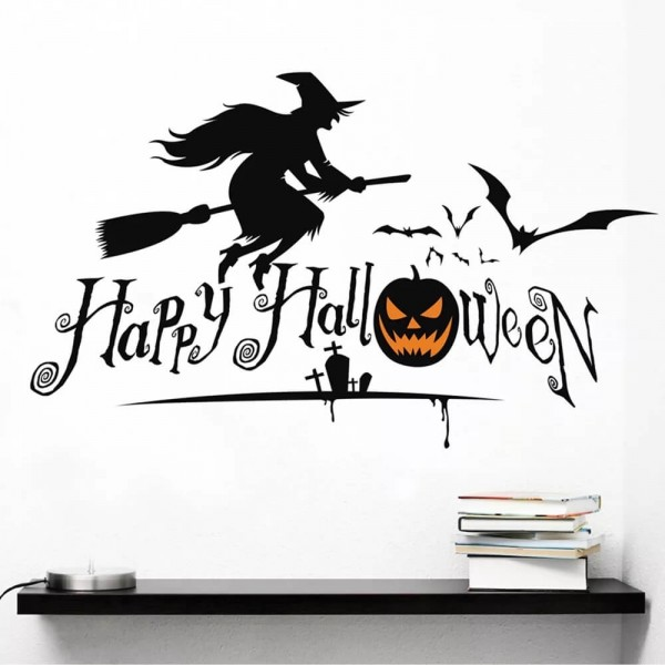 Happy Halloween Wall Decal Witch Bats Pumpkin Tomb Silhouette Wall Art Decoration