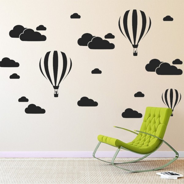 Hot Air Balloon And Cloud Wall Decal Mural Stickers baby Boy Girl Themed Room Bedroom Nursery Decor
