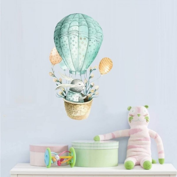 Hot Air Ballooning Bunny Rabbit Wall Decal Nursery Wall Art Vinyl Sticker For Kids Baby Room Decor