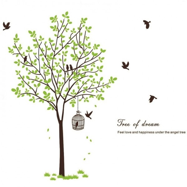 Huge Tree With Flying Birds And Birdcage Wall Decal Vinyl Wall Art Mural Sticker For Home Living Room Decoration