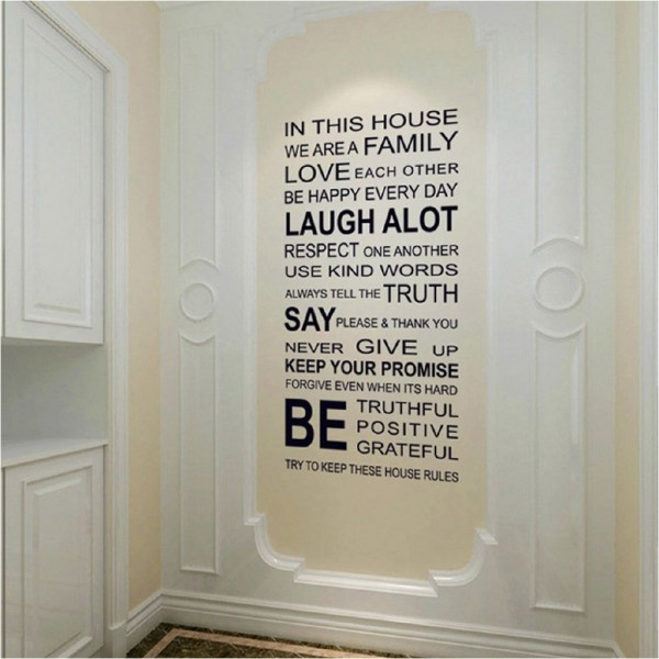 In This House Wall Quotes Decals Family Wall Sayings Vinyl Lettering Stickers For Home Decor