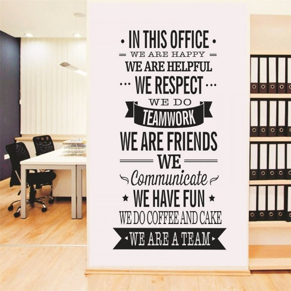"Inspirational ""In This Office"" Quotes Wall Art Decals Removable Wall Saying Vinyl Lettering Stickers For home office Decor"