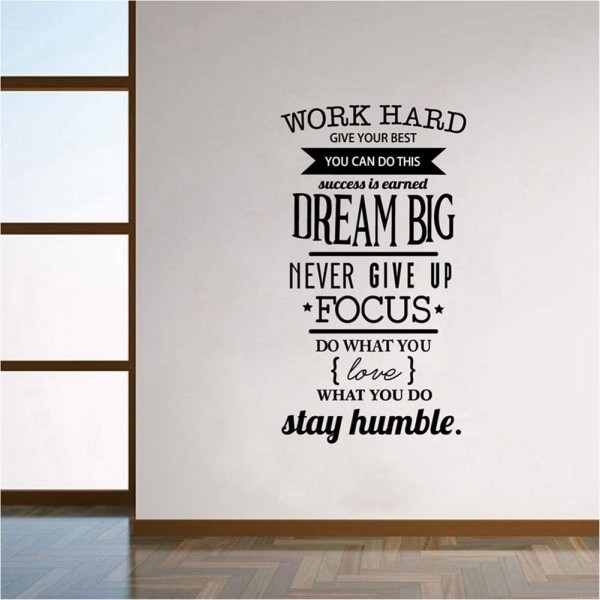 Inspirational Vinyl Wall Quotes Decals Work Hard Give Your Best You Can Do This Motivational Quotes Wall Art Stickers For Home Office Decor