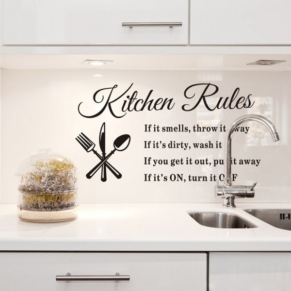 Kitchen Rules Vinyl Wall Decal Quotes