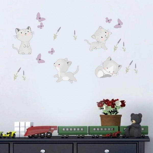 Kitty Cats Wall Decals Kitten Butterfly Lavender Wall Stickers For Kids Baby Boy Girl Nursery Room Decor