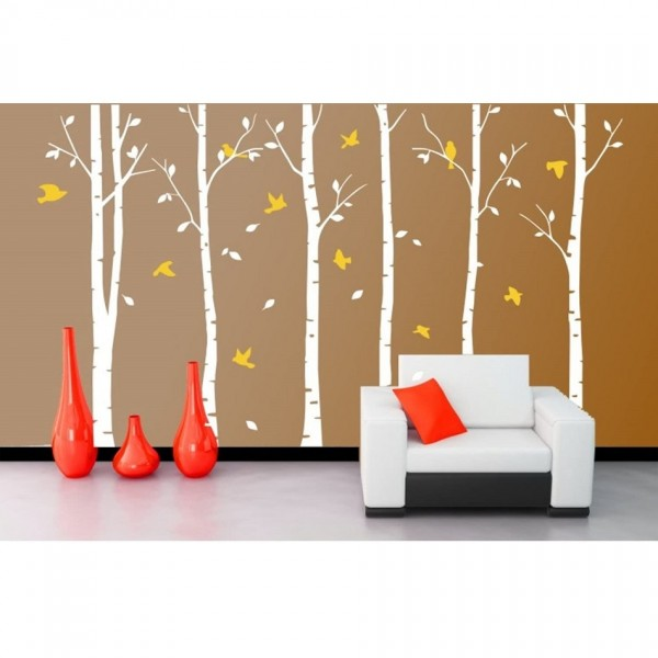 Large Birch Trees Wall Decals With Birds Vinyl Wall Art Removable Mural Stickers For Room Decoration